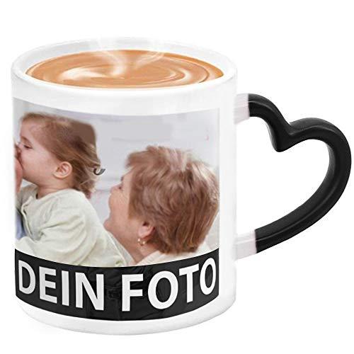 MEGAUK Zaubertasse mit Foto Text Bedrucken Lassen - Farbwechsel Personalisierte Foto Tasse - Kaffeebecher Selbst Individuell Gestalten - Magic Custom Coffee Mug Cup