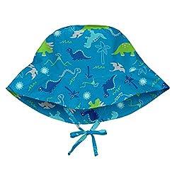 commercial I play. Green sprout unisex baby bucket sun hat, aqua dinosaur, 0/6 mon. baby sun hat