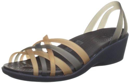 Crocs Huarache Mini Wedge, Damen Offene Sandalen mit Keilabsatz, Gold (Bronze/Espresso), 41/42 EU