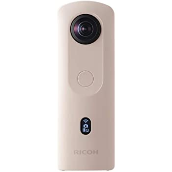 Ricoh Theta SC2 BEIGE 360°Camera 4K Video with Image Stabilization High Image Quality High-Speed Data Transfer Beautiful Portrait Shooting with Face Detection Thin & Lightweight For iPhone, Android