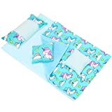 """ZITA ELEMENT 5 Pcs American 18 Inch Girl Doll Bed Accessories Bedding Set - 1 Bed Sheet 1 Quilt 3 Pillows Fits My 18"""" Life Our Journey Generation Girls Dolls - Unicorn Printed"""