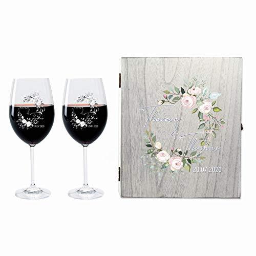 LEONARDO FORYOU24 2 Weingläser mit Vintage Geschenkbox und Gravur Flower Geschenkidee zur Hochzeit oder Verlobung Wein-Gläser graviert