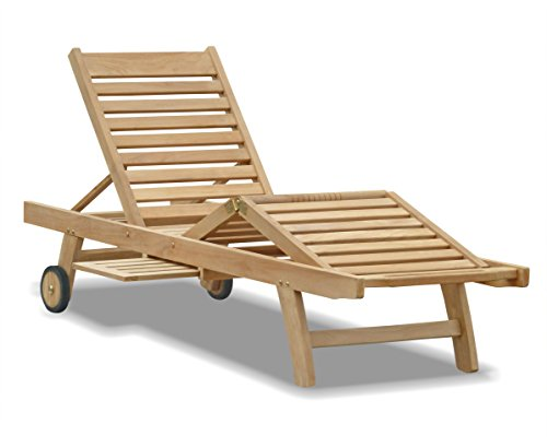 Jati Luxury Teak Sun Lounger, Reclining Sun Lounger with adjustable leg section, wheels and tray Brand, Quality & Value