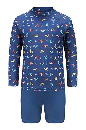 Moon Tree Pantalones cortos y camiseta de baño para niños con protección UV, estampado para niños y niñas Navy Surf / Traje 5-6 Años
