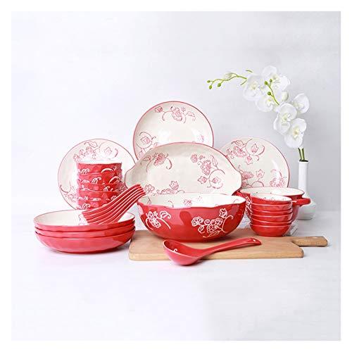 Platos llanos Juego de placas para el hogar de 28 piezas y platos Conjunto de vajillas de cerámica de alta calidad Conjunto de placas de cena de porcelana mate roja, servicio para 6 Platos de comida