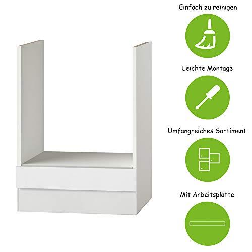 MMR Herdumbauschrank Küche DALLAS, ohne Arbeitsplatte, Umbauschrank, 60 cm breit, Weiß