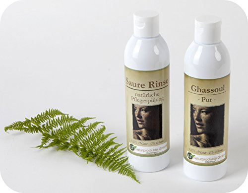 Bio-Haarpflegeset aus hochfeiner, orginal marokkanischer Lavaerde / Ghassoul - für die chemiefreie Haarpflege: 250ml Wascherde-Fertigmischung PUR, 250ml Saure Rinse im Geschenkpaket / Pflegeset