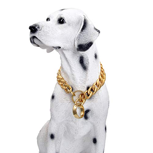 Tiasri 18K Gold Chain Dog Collar 15mm Cuban Link Dog Chain for Pitbull Choke Collar Metal Stainless Steel Walking Collar for Large Medium Small Dogs (10inch for 6-8' Dog Neck)