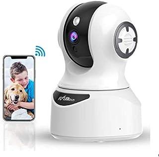 FLYLINKTECH Cámara de Vigilancia WiFi 1080P FHD Cámara IP WiFi con Detección de Movimiento de Visión Nocturna Cámara de Seguridad para Mascotas/Bebés Compatible con Alexa Audio de 2 Vías Blanco