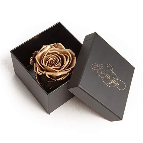 Infinity Rose konserviert Rosenbox I LOVE YOU Geschenk für Frauen Weihnachten (1 Rose, Schwarz-Gold)