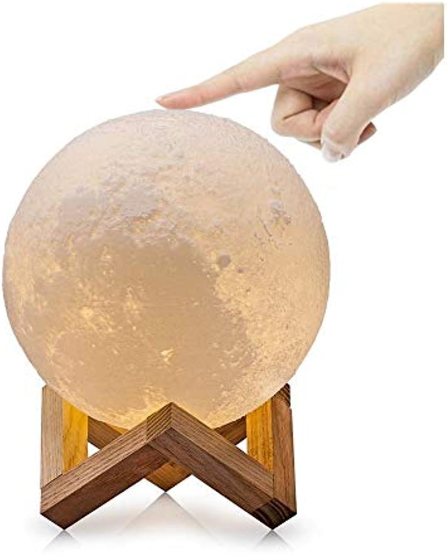ZHANG NAN ● 3D Moonlight Lampe, Nachtlicht 3D Druck Mondlampe Lunar USB Lichter Nachtlicht, Touch Control Helligkeit 3 Farbe Stimmungslicht für Schlafzimmer Cafe Bar Esszimmer (Gre  15 cm) ●