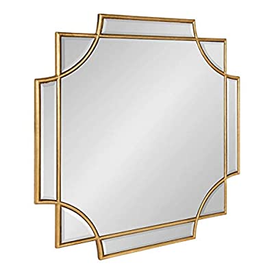 "Kate and Laurel Minuette Glam Square Wall Mirror, 24"" x 24"", Gold, Elegant Traditional Home Decor with A Boho Charm"