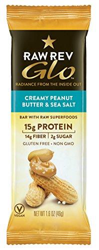 Raw Rev Glo Protein Bars, Creamy Peanut Butter & Sea Salt, 1.6 Ounce (Pack of 12), 15g Protein, 2g Sugar, 14g Fiber, Keto-Friendly, Vegan, Plant-Based Protein, Gluten-Free Snack Bar