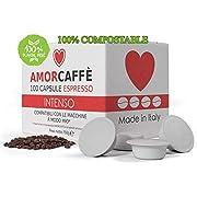 Amorcaffe 100 Compostable Lavazza A Modo Mio Compatible Coffee Capsules Pods - Intenso Taste - Plastic Free
