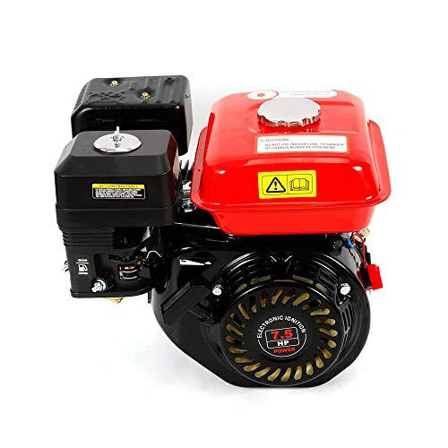 RDFlame 7.5 PS 5.1 Kw Motor de gasolina con alarma de aceite, 4 tiempos, refrigeración por aire, diámetro 20 mm, eje horizontal (rojo)