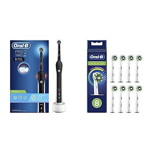 Oral-B PRO 2 2000 Cepillo Eléctrico Recargable con Tecnología De Braun + Oral-B CrossAction Cabezales de Recambio Tamaño Buzón, Pack de 8 Recambios con Tecnología CleanMaximiser