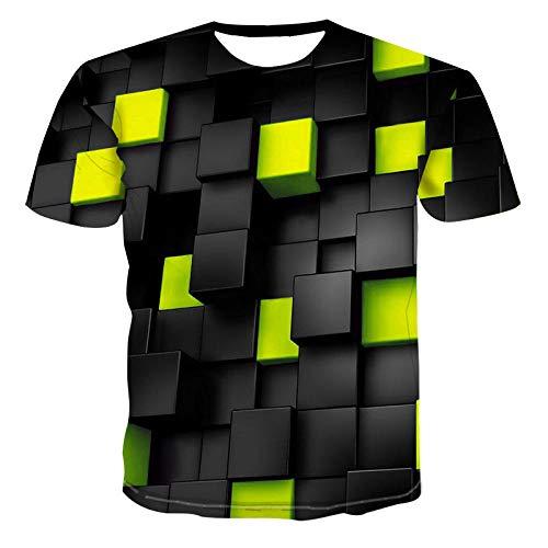 YYQX Conainer heren 3D Graphic Print T-shirts zwart geel groen vierkant patroon T-shirt mannen 3D shirt korte mouwen ronde hals digitale print casual korte mouwen