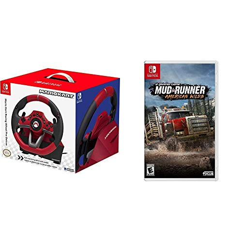 Nintendo Switch Mario Kart Racing Wheel Pro Deluxe by HORI - Officially Licensed by Nintendo & Mudrunner - American Wilds Edition - Nintendo Switch