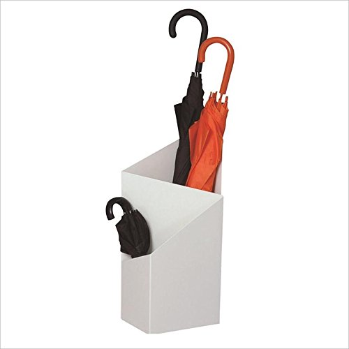 Supporto per portaombrelli rettangolare moderno in metallo bianco rettangolare Supporto per portaombrelli a ombrello geometrico, Home Office Decor, per ombrelloni lunghi e corti, 25 × 20 × 60 cm