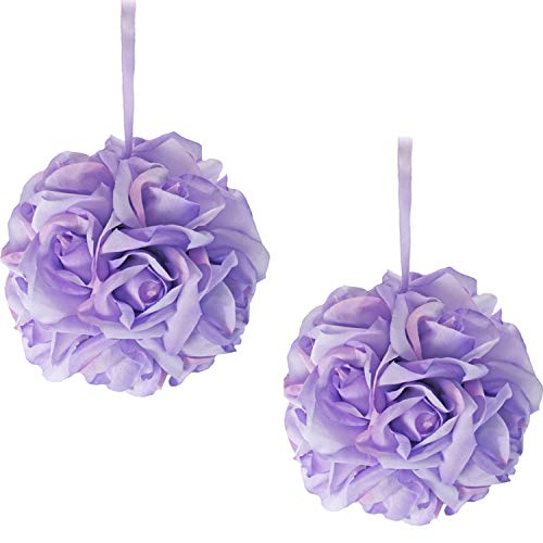 TheBridesBouquet Lavender Kissing Balls for Wedding | Flower Girl | Kissing Ball | 6 inch Pomander (2 pk Lavender)