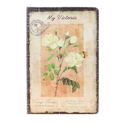 WYH Composición Flor Cuaderno Europeo Retro Tela Cubierta Cuaderno Personal Diario Libro Vintage Cuaderno Coreano Papelería Escolar Suministros (Color: C)