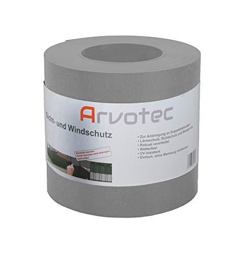 Sichtschutz, 25 Meter - 6 Farben wählbar - zur Anbringung an Doppelstabmatten - Lärm-, Sicht- & Windschutz - einfache Montage, ohne Werkzeug - 1,1 mm Stärke statt der üblichen 1,0 mm (Steingrau)