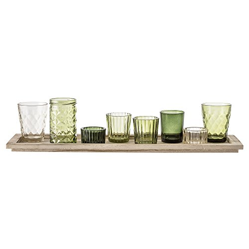 Bloomingville Windlicht, grün, Glas Paulownia Holz, 9er Set