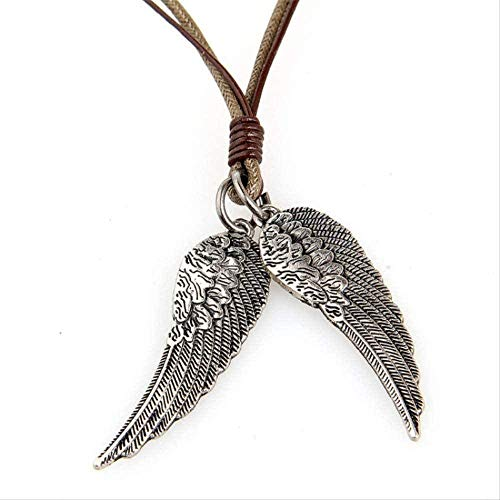 Necklace Women Necklace Men Necklace Clothing Accessories for Women Men Wholesale Lace 1.5 * 3.8cm Long Leather Wings Necklace for Men On Rope Chain with Copper Alloy Pendant Necklace Girls Boys Gift