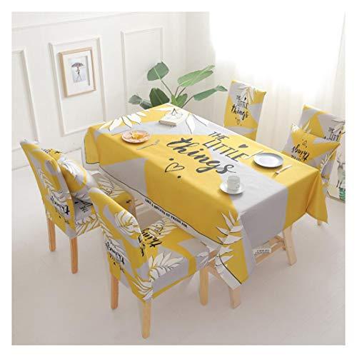 GUOCU Mantel de Algodon de Lino Rectangular Mantel de Mesa Impermeable Antimanchas Decoracion para Cocina Comedor Fiesta Mantel Silla Juego de Tela Amarillo Seis Fundas para sillas