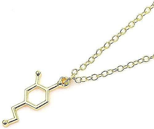 LBBYLFFF Collar Collar Bohemio Collar de fórmula química 5-HT Collares Joyería de la eternidad Pendientes Collar Cuello Redondo Memoria Collar de ADN Enfermera Doctor Joyería Regalos