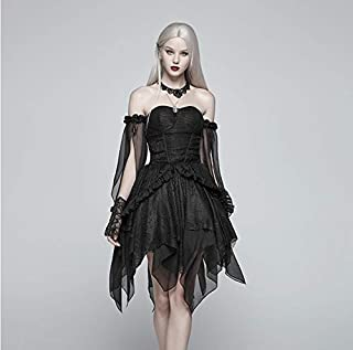 Black Dresses for Women, Elf Transparent Split Chiffon Long Black Dresses for Women, Off-Shoulder Layering Black Dress for Women for Christmas Prom Sexy Dress Christmas Costume Ball Gown