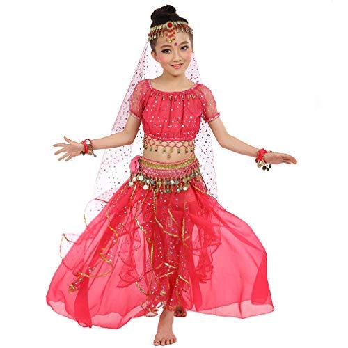 Costume di Festa di Compleanno delle Ragazze Costume di Danza del Ventre, Bambini Cosplay Principessa Arabo Dancewear Lucido Carnevale Outfit (S, Rosa-Rossa)