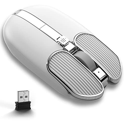 Ratón inalámbrico recargable para juegos de 2.4G, ratones ligeros sin núcleo con joystick multifuncional y receptor USB magnético, 8 botones programables, 5 ppp ajustables, para juegos y oficina