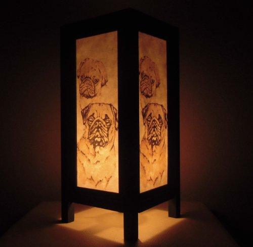Seltene Asiatische Orientalisch Vintage Möbel Thai handgefertigt Buddha Stil Lampe Nachttische Pug Dog Zuhause Schlafzimmer Dekor Wohnkultur In Thailand