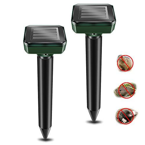 VANZO Mole Repellent, 2 Pack Ultrasonic & Solar Powered Animal Repellent for Outdoor