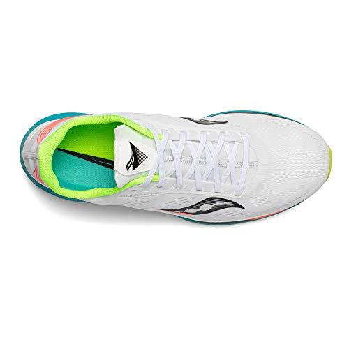 Saucony Endorphin Pro 01 Scarpa da Corsa Running Jogging su Strada o Sterrato Leggero con Appoggio Neutro per Donna Bianco Azzurro
