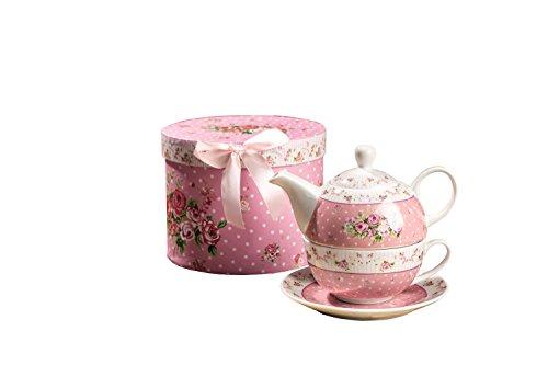London Boutique Teekannen für eine Tasse Retro-Porzellan-Teekanne, viktorianisches Blumenmuster Geschenkbox (Rose)
