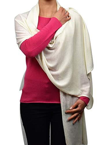 DALLE PIANE CASHMERE - Stola aus 70% Kaschmir 30% Seide - für Frau, Farbe: Weiß, Einheitsgröße
