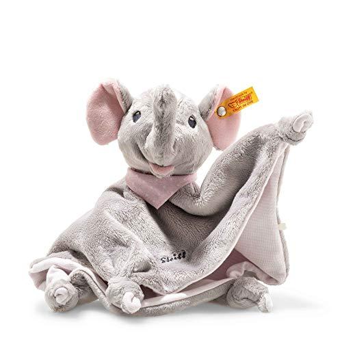 Steiff Trampili Elefant Schmusetuch - 28 cm - Kuscheltier für Babys - Plüschelefant - weich & waschbar - grau/rosa - (241680)