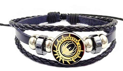 Main Street 24/7 Battlestar Galactica BSG 75 Glass Domed Symbol Braided Bracelet