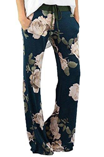 Jumojufol Le Estate Ampia Direttamente Razzo Gamba metà Vita Palazzo Floreali Fitness Pantaloni Lunghi con Cintura Floral M