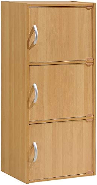 Pemberly Row 3 Shelf 3 Door Bookcase in Beech