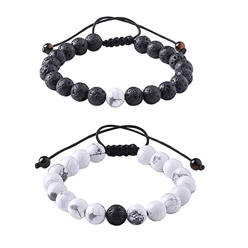 YUGDRUZY Yoga Gemstone Distance Bracelets with Jewelry Bag & Meaning Card | Strong Elastic | Friendship Relationship Couples His Hers | Black Agate Onyx White Howlite Bracelet