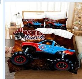 Proxiceen Juego de ropa de cama para niños y niñas, decoración para dormitorio, 3 piezas, diseño de dibujos animados de coche, color gris (A4, 135 x 200 cm + 50 x 75 cm)