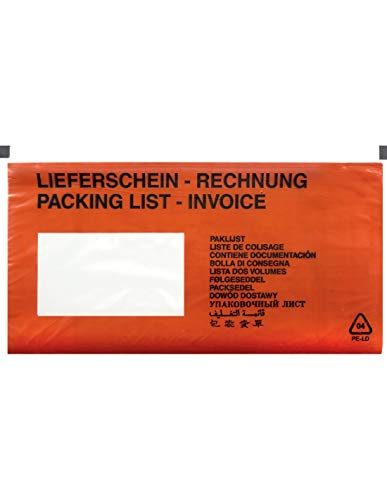 1000 Dokumententaschen DIN lang Rot Rechnung/Lieferschein bedruckt Lieferscheintaschen DL 131x239 mm selbstklebende Begleitpapiertaschen Rechnungstaschen für Begleitpapiere Dokumente