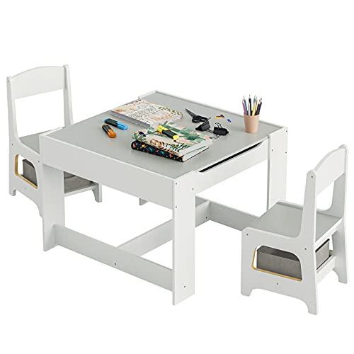 ADORNEVE Kindertisch mit 2 Stühlen,3 in 1 Kinder Tisch und Stuhl Set mit Aufbewahrungsschubladen,Kindersitzgarnitur mit Tafel für Malen,3-teiliges Set Kindermöbe(Weiß & Grau)
