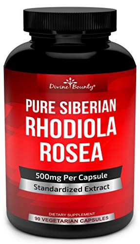 Pure Rhodiola Rosea Supplement - 500mg Siberian Rhodiola Extract 3% Rosavins and 1% Salidroside - for Normal Energy, Stress & Thyroid Support - 90 Vegetarian Capsules