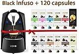 VERO Coffee Hamper, Includes 1 Black Infuso Coffee Capsule Pods Machine & 120