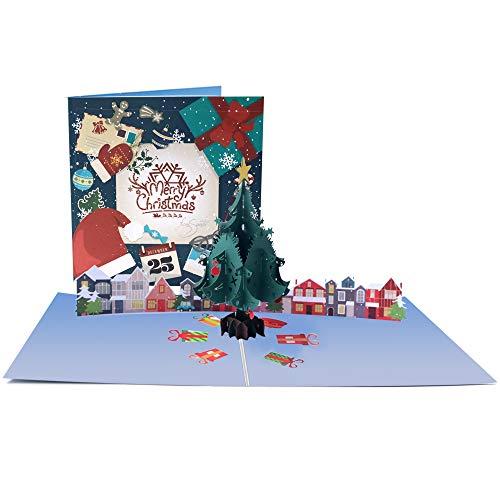 Tarjetas de Navidad 3D Hecha a Mano con Sobre a Juego para Mujeres Hombres Niños Familia Felicitaciones (Árbol de Navidad Verde)