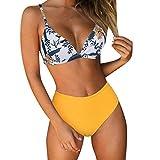 RUUHEE Women High Waisted Cheeky 2 Piece Bikini Bathing Suits (M(US Size 4-6),Yellow-0)